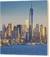 Yachts On The Hudson River, New York Wood Print
