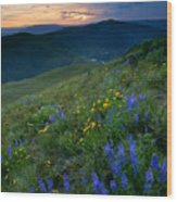 Yakima River Canyon Sunset Wood Print