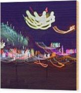 Yangshuo Trees By Night Wood Print