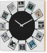 yankees Clock Wood Print by Paul Van Scott