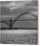 Yaquina Bay Bridge Black And White Wood Print