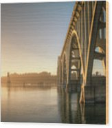 Yaquina Bay Bridge - Golden Light 0634 Wood Print