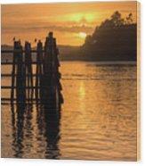 Yaquina Bay Sunset - Vertical Wood Print