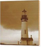 Yaquina Head Lighthouse Sepia Wood Print