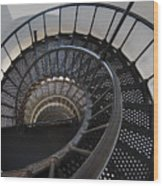 Yaquina Lighthouse Stairway Nautilus - Oregon State Coast Wood Print by Daniel Hagerman
