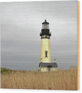Yaquina Lighthouses - Yaquina Head Lighthouse Western Oregon Wood Print by Christine Till