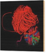 Yarn Leftovers Wood Print