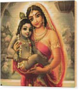 Yashoda And  Krishna 4 Wood Print