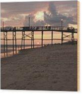 Yaupon Pier Sunset Wood Print