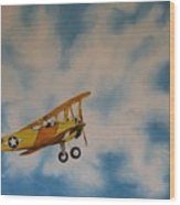 Yellow Airplane Wood Print