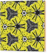Yellow And Black Abstract Wood Print