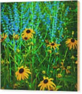 Yellow And Blue Wood Print