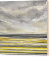 Yellow And Gray Seascape Art Wood Print