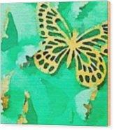 Yellow And Green Butterfly Wood Print