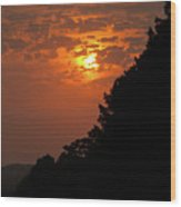 Yellow And Orange Sunset With Tree Silhouette On Bottom And Right Wood Print
