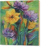 Yellow And Purple Flowers Wood Print