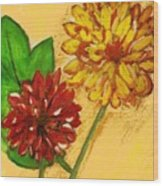 Yellow And Red Chrysanthemums Wood Print