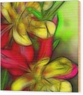 Yellow And Red Columbines Wood Print
