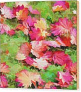 Yellow And Red Fall Maple Leaves Wood Print