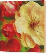 Yellow And Red Floral Delight Wood Print