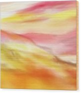 Yellow And Red Landscape Wood Print