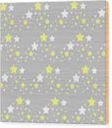 Yellow And White Stars On Grey Gray  Wood Print