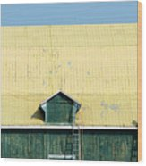 Yellow Barn Roof Workers-3 Wood Print