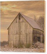 Yellow Barn, Yellow Sunset Wood Print