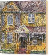 Yellow Batik House Wood Print