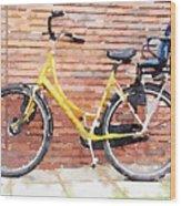 Yellow Bicycle Digital Watercolour Wood Print