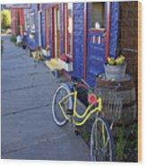 Yellow Bicycle Silverton Colorado Wood Print