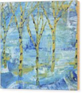 Yellow Birches Wood Print