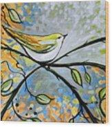 Yellow Bird Among Sage Twigs Wood Print
