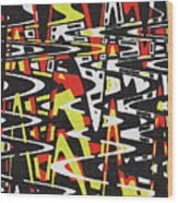 Yellow Black Red White Drawing Abstract Wood Print