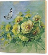 Yellow Blossoms And Butterfly Wood Print