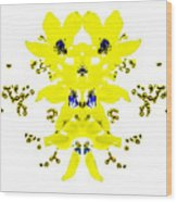 Yellow Blue Blossoms Wood Print