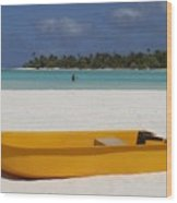 Yellow Boat In South Pacific Wood Print