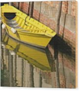 Yellow Boat In Venice Wood Print