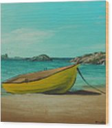 Yellow Boat Wood Print