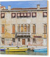 Yellow Boat - Venice Italy Wood Print