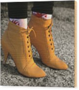 Yellow Boots Wood Print by Tony Ramos