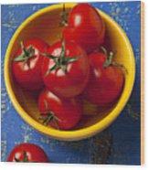 Yellow Bowl Of Tomatoes  Wood Print