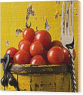 Yellow Bucket With Tomatoes Wood Print by Garry Gay