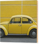 Yellow Bug Wood Print