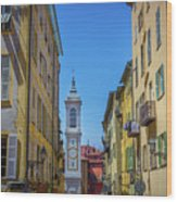 Yellow Buildings And Chapel In Old Town Nice, France - Landscape Wood Print