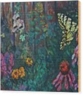 Yellow Butterfly Perched Wood Print