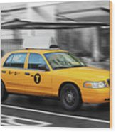 Yellow Cab In Manhattan In A Rainy Day. Wood Print