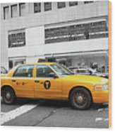 Yellow Cab In Manhattan With Black And White Background Wood Print