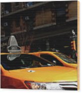 Yellow Cab Wood Print