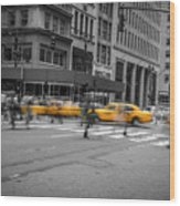 Yellow Cab On Fifth Avenue, New York 4 Wood Print